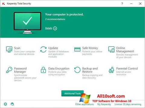 Screenshot Kaspersky Total Security Windows 10