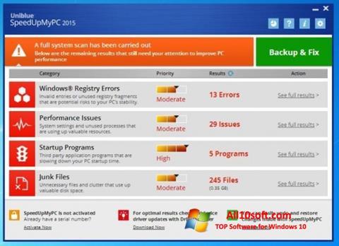 Screenshot SpeedUpMyPC Windows 10
