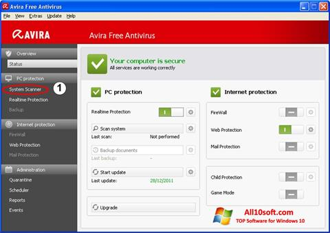 Screenshot Avira Windows 10